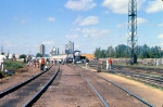 1002-A1-027 American Freedom Train is pulled backwards across Hiawatha Ave to MILW Southtown Yard by Baldwin switcher