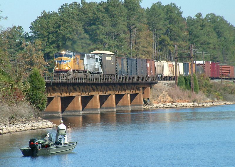 Southbound Freight crossing Lake Greenwood
