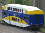 """090831004 In-Transit Northstar coach MNRX 710 spotted on the BNSF Northtown """"No Hump"""" track"""
