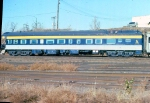 """1027-27 Business car 800043 C&O 3 """"Chapel Hill"""" on back of eastbound Amtrak North Coast Hiawatha at BN St. Anthony Jct."""
