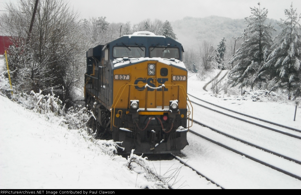 CSX 837 After Heavy Snow Fall in House Track at Pennington