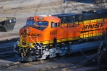 The early morning sun reflects of BNSF 6620 swoosh logo as she sits in the BNSF yard.