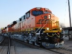 BNSF 6621 reflects the setting sun's rays as she rolls north with BNSF 7266 and 7268.