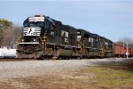 Norfolk Southern SD70 #2573, SD70ACe #1116 & SD40-2 #6104 lead a westbound ballast train down the Passenger Main