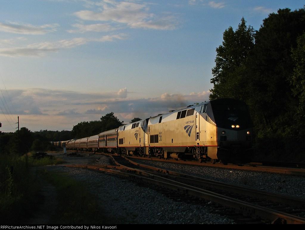 AMTK 56 leads Amtrak 20 north