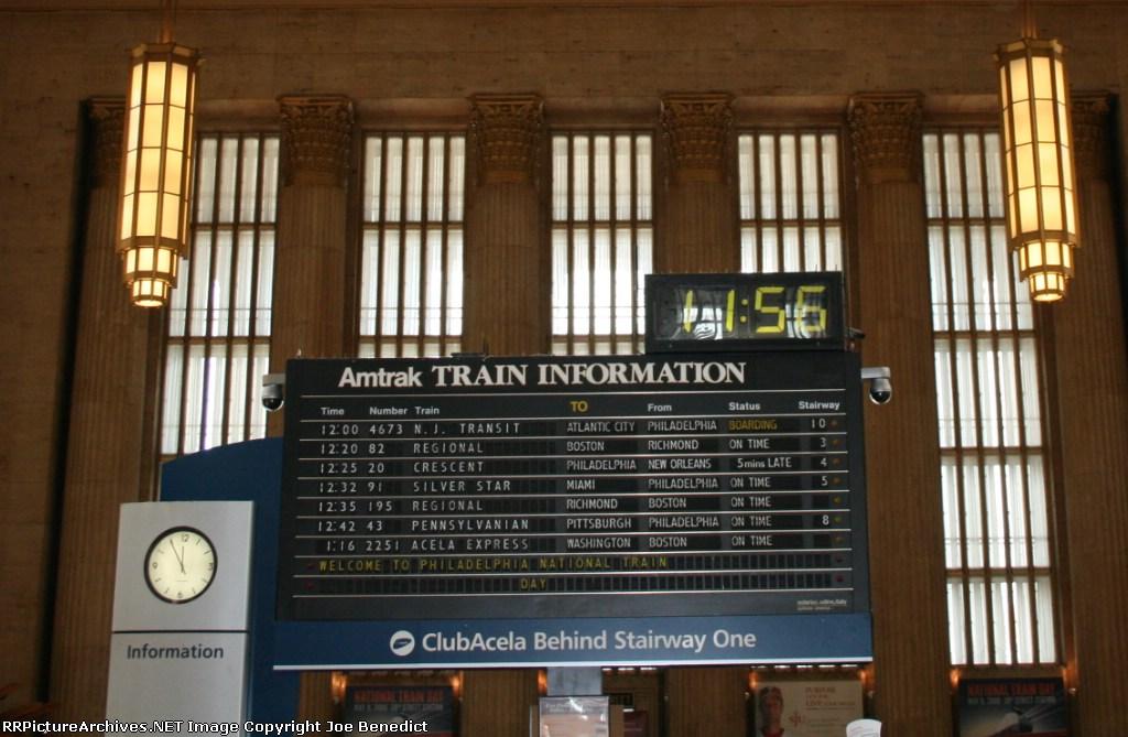 Amtrak train board