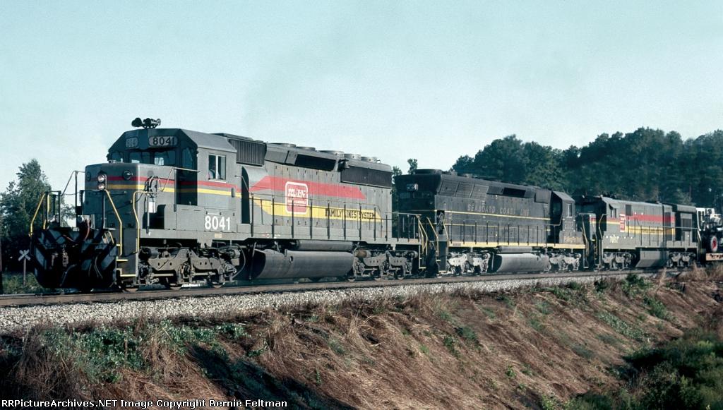 Seaboard System SD40-2 #8041, leading Waycross bound train #329,