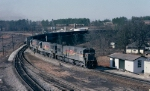 Seaboard System U30C #1482 & U25C's 1521 and 1522 lead a loaded Florida bound coal train up to the Yard Office for a crew change