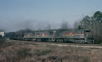 SBD U30C #1482, leading former Oro Dam U25C's 8014 & 8015 which became L&N 1521 & 1522, with a Florida bound loaded coal train