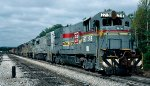 Seaboard System U23B #2719, U23B #2722, MP15T #1212, B23-7 #5102, GP40's 6724 & 6791, and U36B's 5771 & 5720) leads train 1st #329 southbound out of the yard and up Pine Mountain grade