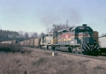 Seaboard System SD40-2 #8076 and Clinchfield Railroad SD40 #3007 lead the daily Sand Turn (Manchester-Brownsand, GA)