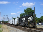 NS 6196 On NS 936 Eastbound  Long Hood Forward With Chevron StripesOn The Plow