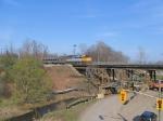 VIA 6402 Crossing Hidden Valley bridge which is under construction to add third line