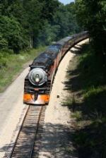 Southern Pacific 4449 leans into a super elevated curve