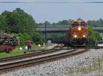 BNSF 5833 leads a empty Scherer train north