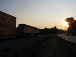 UP 5542 heading into the setting sun