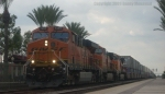 BNSF 7494 Pulling Up To a Red Signal at Fullerton Jct.