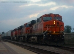 BNSF 7508 Flys Past Fullerton on an Overcast Day