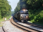 NS 251 snakes its way through with a long string of Triple Crown Trailers