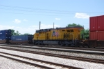 UNion Pacific 7443 rear shot. Heads south in the middle of a Suth bound intermodel train