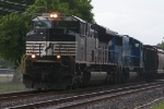 NS SD70M-2 on a coal train on a very rainy day at Macungie PA