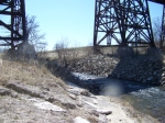 small stream below BNSF main on trestle