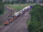 BNSF 1110 Leads a Doublestack Train Along the Mississippi River