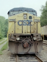 nose shot of CSX 7768 on a rainy day in Gainesville
