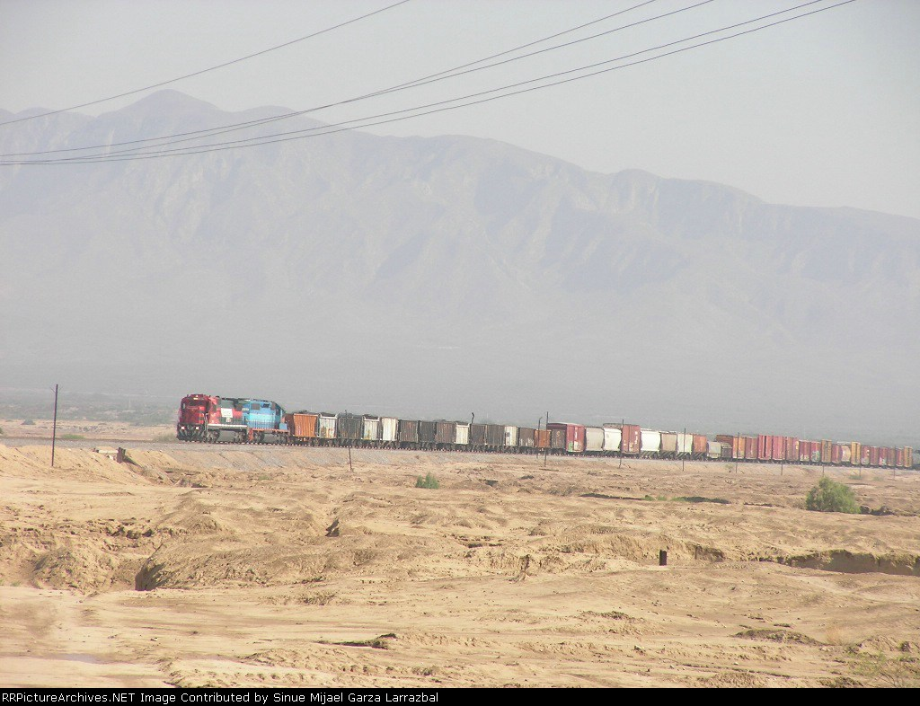 Ferromex Mixed Train in a the middle Big Desert