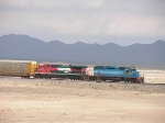 Ferromex EMD and GE locos in the big desert