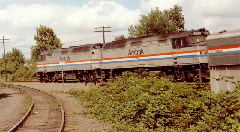Amtrak Train #14 passes on the main