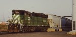 A BNSF SD9 switching the grain elevators in Duluth MN in 2001.