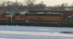 BNSF SD9 in 2010 at Northtown Yard in Dec 2010.  Note the shop crew Great Northern GN repainted lettering.