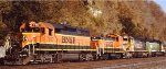 A neat BNSF consist headed past St Paul MN on the westbound mainline in 2007.