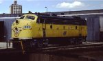 A CNW F7 at Minneapolis Jct wye, turntable and roundhouse at Mpls MN 1987.