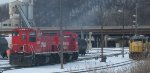 A pair of former Milwaukee Road MP15ACs in St Paul MN in Feb 2013.