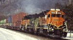 BNSF GP35 and SD9 on stack train headed out of St Paul MN in 2008 headed to Chitown.