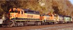 Neat BNSF consist headed west on the BNSF at St Paul MN Daytons Bluff in Sept 2012.