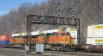 BNSF stack trains passing at St Paul MN Daytons Bluff in March 2012.