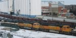 Stored SD70MACs at Mpls MN Northtown yard in Feb 2013.