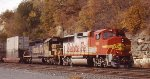 Solid Santa Fe on the BNSF passing St Paul Daytons Bluff in 2004.