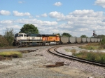 BNSF 9819 & 5788 head west past the CKIN interchange track with E927