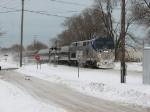Amtrak 351 rolls west through town as it nears the South Shore diamond