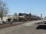 A pile of wreckage and not fully repaired crossover still linger at CP367 as 69Q heads west