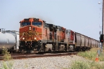 BNSF grain train by some old Mo-Pac signals