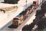 Westbound stack train starts downhill