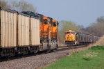 BNSF SD70MACs meet, 9941-8899 with eastbound coal, and 8838 with westbound KCS grain train
