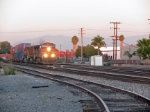 BNSF engine #4198 leading a train through fullerton