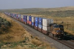 UP 5428 leads a double stack west of