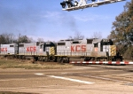Three GP38-2s including 2 without dynamic brakes lead an EB Freight the day after Christmas